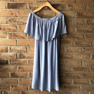 SIMI | Blue draped off the shoulder summer…